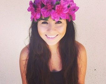 SALE--Flower Crown, Flower Headband, Coachella, Music festival, Rave accessory- Purple  Flowers