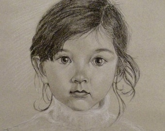 portrait in charcoal and white charcoal