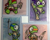 TMNT inspired 4 card SET - ACEO - 2.5 x 3.5 - Print - Marker