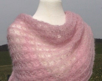Pink bridal shawl, knit stole, wrap, women accessoire scarf, pink wedding, kid-mohair / silk, lace