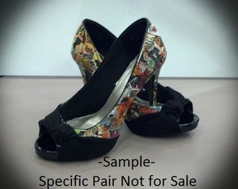 Custom Hand Decorated Comic Book Shoes