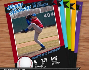 baseball card birthday invitation 5x7 photoshop template for photographers and designers. Black Bedroom Furniture Sets. Home Design Ideas