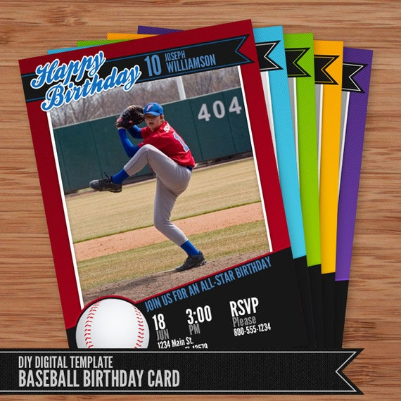 baseball card birthday invitation 5x7 photoshop template for. Black Bedroom Furniture Sets. Home Design Ideas
