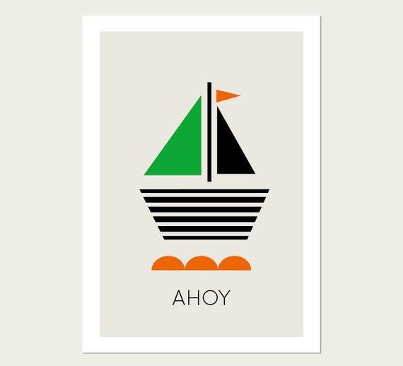 Nautical Print, Modern Nautical Print, Modern Kids Wall Art, Boat, Boy Room Art, Modern Child Decor.