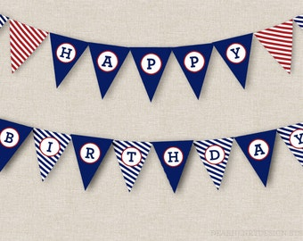 Nautical Birthday Banner, INSTANT DOWNLOAD Printable PDF Happy Birthday Banner, Anchor Banner, Bunting Banner, Bunting Flags, Red White Blue