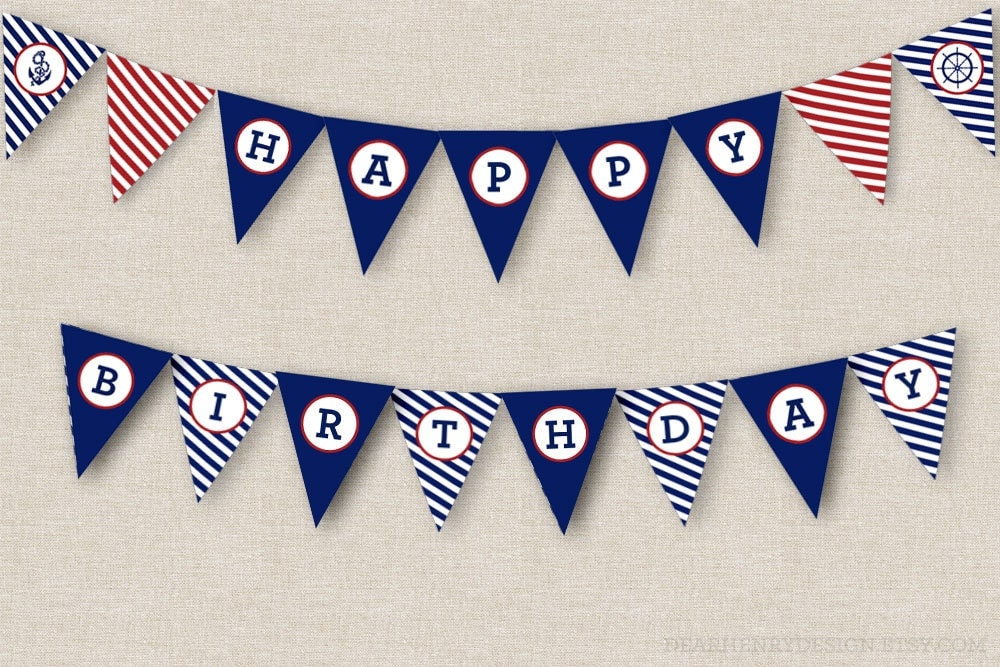 Nautical birthday banner instant download printable pdf happy zoom pronofoot35fo Choice Image