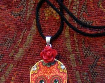 Red Sugar Skull Tattoo Necklace - Day of the Dead - Dias de los Muertos