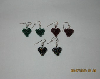 SWAROVSKI CRYSTAL 3-D Puffy Heart Earrings with Sterling Silver Ear Wires