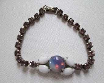 Bracelet Lavender Rhinestones/ Moonstone/ Milk Glass  Retro  Jewelry