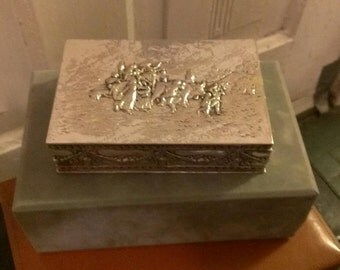 Silver platted jewelry box with repoussé of Pilgrim scene