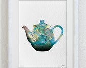 Teapot Art Watercolor Painting - 5x7 Archival Print - Teal, Gray, Blue Teapot Colorful Art - Silhouette Art Wall Decor, Kitchen Decor