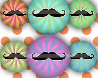 multicolor moustache (010) Digital Collage Sheet 4x6 bottle cap images .. Bottlecap glass tiles ..