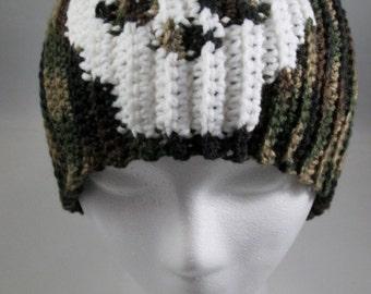 Crochet Camouflage Skeleton Skull Skully Beanie Hat - Men, Women, Teens and Kids