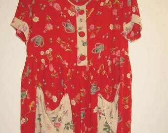 Red & Ivory Babydoll Springtime tea party dress / garden party frock