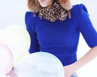 Electric mystique blue elbow sleeve fall trends 2016 hand knit womens sweater modern simple minimalist cobalt blue halloween autumn gift
