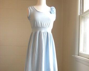 Womens cotton Dress sleeveless empire waist dress tank dress Cascading Petals bridesmaid dress embellished Flower Petal Dress Made to Order