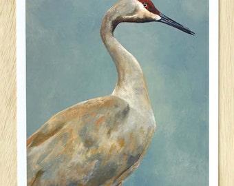 I Need Never Face Humiliation Or Defeat 11 x 14 Art Print - Bird - Crane - Giclee - Animal - Nature