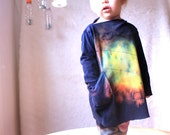 Organic Tie Dye Tunic Dress with Boat Neck and Pockets Phoenix for Girl Eco-Friendly in Navy Blue