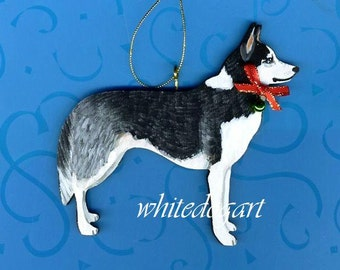 Custom Handpainted Siberian Husky Christmas Ornament