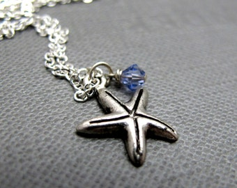"""Hidden Blessings Necklace // Silver Starfish Charms // Periwinkle Purple Swarovski Crystals // 17"""" Silver Chain // Gift under 15"""