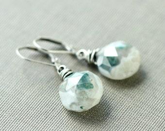 Solar Quartz Earrings Green Wire Wrapped Oxidized Sterling Silver Earrings - Cosmic