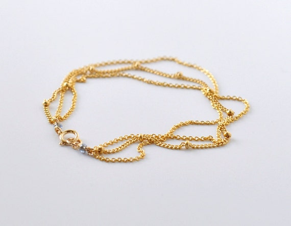 RESERVED Nebula gold bracelet w GREY DEWDROP by clasp - multi chain dotted gold bracelet - simple everyday jewelry