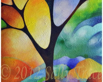 """Modern abstract tree giclee print on stretched canvas from my abstract painting """"Tree of Joy"""" - 24x36 -  Tree of Life series"""
