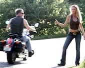 Rebel DEERSKIN Leather Halter Top   Boho Hippie Vest   Biker Motorcycle Leather Clothing   Festival Clothes   Backless Laced Halter Top