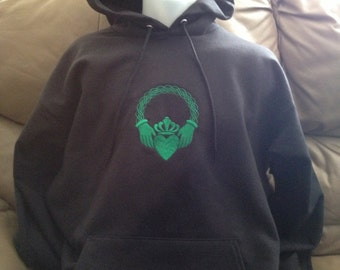 Claddagh HOODIE Hooded Sweatshirt Embroidered Love, Loyalty & Friendship Traditional Irish Symbol Made to Order MTO