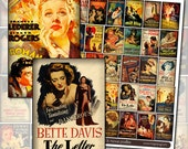 Antique Film Noir Movie Posters Digital Collage Sheet for mixed media collage or dollhouse framed art