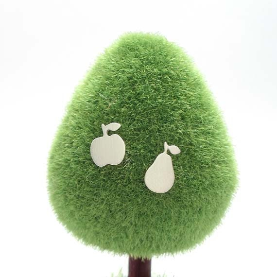 Fruit Salad Studs / Mismatched (or Matching) Sterling Silver OR 9ct Gold Quirky Fun Apple and Pear Studs Handcrafted by Ginny Reynders