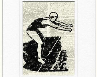 vintage lady swimmer print
