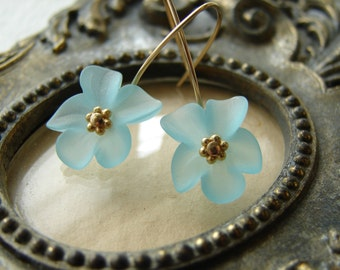 Lucite Flower Earrings - Aqua Earrings with Gold Filled