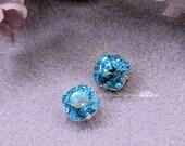 Aquamarine Swarovski Crystal 10mm Cushion Cut 4470 Square With Prong Setting Crystal Sew On Craft Supplies Jewelry Making March Birthstone