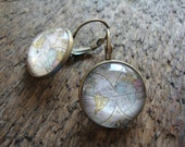 world traveler earrings, map, globe, travel, continents, pastels - gift for her, wedding, graduation