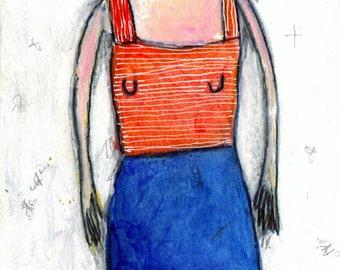 Big Girl - original mixed media painting, outsider art, unframed by Murphy Adams