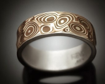 Mokume gane Men's ring - Copper Canyon - Argenitum silver and copper