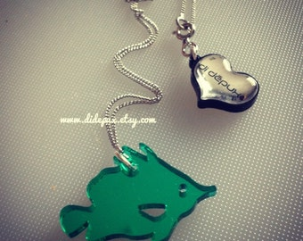 FISH green mirror laser cut necklace
