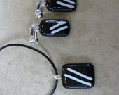 Black and White Pendant Earrings Set, Glass Necklace and Clip On Earrings, Fused Glass Jewelry - Time Turner - 2987 -2