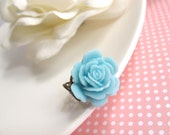 Spring Flower Ring. Bright Blue Rose. Hearts Filigree. Antiqued Bronze Ring. Adjustable flower ring. Simple Romantic Gift
