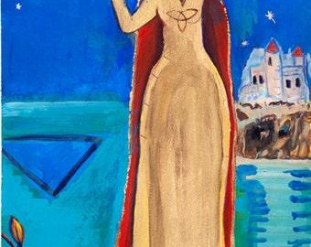 Small Print Goddess Art - Arianrhod, Celtic Sky Goddess