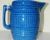 Vintage Stoneware Cobalt Blue Water Pitcher, Country Primitive Pitcher, Barrel Style, Un-signed Antique pure Texana from Galveston Texas