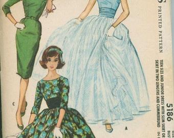 1959 McCalls 5186 Unique Dress Sewing Pattern Vintage Size 15 Ball Gown Full Skirt with Cummerbund ROCKABILLY