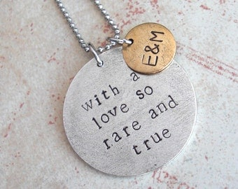 Grande Round Disc - Quote Necklace with mini tag . Custom Phrase or GPS Lat/Long . Hand Stamped, Antiqued Metal Charms. Silver, Copper, Gold