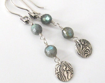 Labradorite Earrings, Fine Silver Wave Dangles, Faceted Gemstone, Eco Friendly Silver