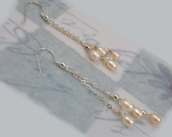 Peaches and Cream Freshwater Pearl Earrings