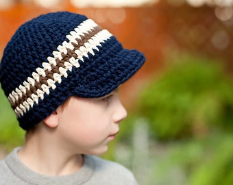 Toddler Boy Hat 2T to 4T Toddler Hat Crochet Boys Hat Sriped Visor Beanie Navy Blue Toddler Hat Ecru Brown Toddler Boy Clothes Winter Hat