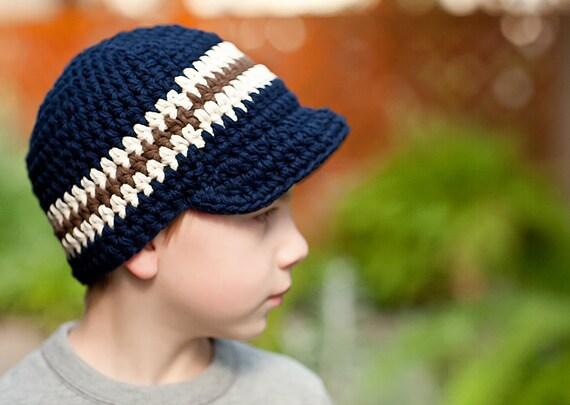 Toddler Boy Hat 2T to 4T Toddler Hat Crochet Boys Hat Sriped Visor Beanie Navy Blue Toddler Hat Ecru Brown Toddler Boy Clothes Winter Hat