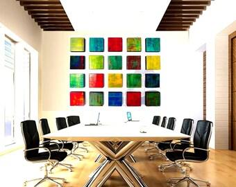 Wood Wall Sculpture | Installation Art | Custom Art | 3D Wall Art | Geometric Art | Office Corporate Art | Rosemary Pierce Modern Art