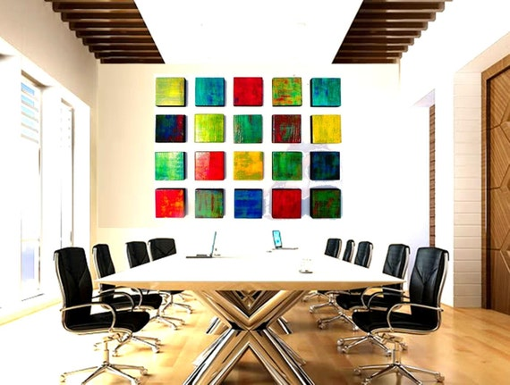 SALE! | Original Abstract Painted Wood Wall Sculpture | 'Color Blend Blocks 20' |  Custom Geometric Art | Office Corporate Artwork #CB33009
